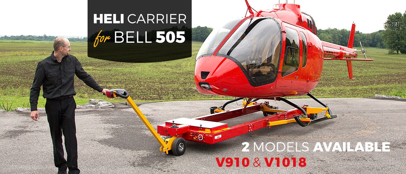 Ground Handling Solution to tow Bell 505 JetRanger X with Helitowcart's V910 / V1018 Heli Carrier